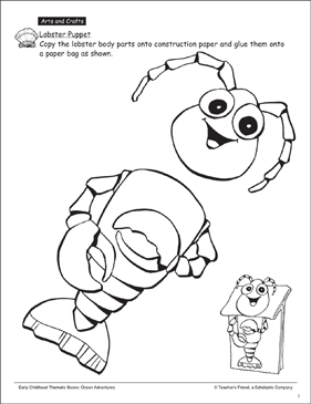 Lobster Puppet: Ocean Craft - Printable Worksheet