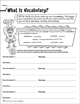 What Is Vocabulary? - Printable Worksheet