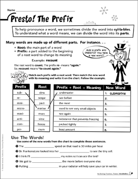 Presto! The Prefix - Printable Worksheet
