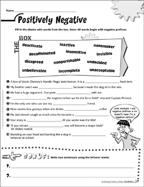 Positively Negative (Negative Prefixes) - Printable Worksheet
