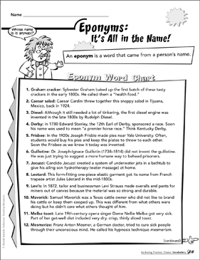 Eponyms - It's All in the Name! - Printable Worksheet