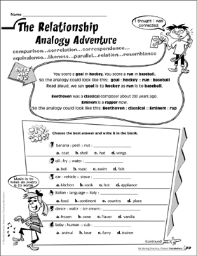 The Relationship Analogy Adventure - Printable Worksheet