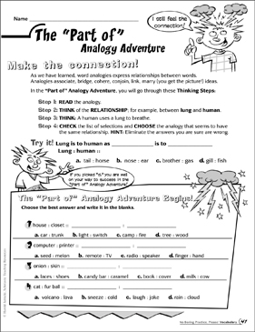 The Part of Analogy Adventure - Printable Worksheet