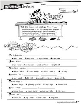 Analogies: Quickie Quiz - Printable Worksheet