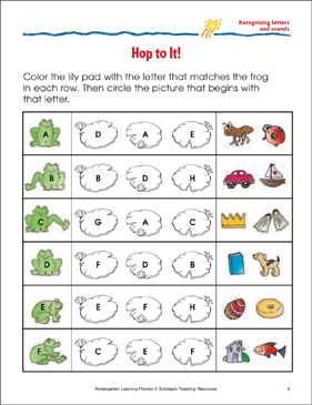 Hop to It! (Letters/Sounds) Sheet 1 (Color) - Printable Worksheet