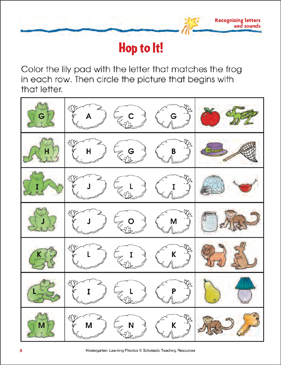 Hop to It! Recognizing Letters and Sounds (Sheet 2) - Printable Worksheet