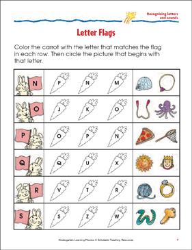Letter Flags: Recognizing Letters and Sounds (Sheet 1) - Printable Worksheet