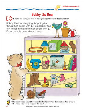 Bobby the Bear (Beginning consonant b) - Printable Worksheet