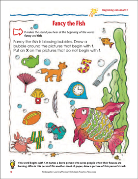 Fancy the Fish (Beginning Consonant F) (Color) - Printable Worksheet