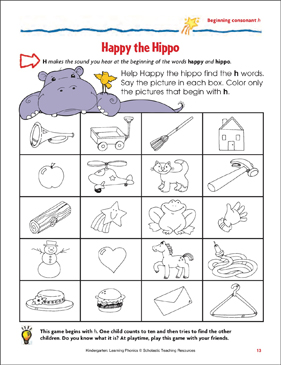Happy the Hippo (Beginning consonant h) - Printable Worksheet