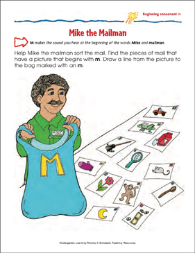 Mike the Mailman (Beginning consonant m) - Printable Worksheet