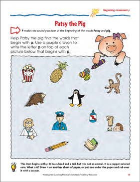 Patsy the Pig (Beginning consonant p) - Printable Worksheet