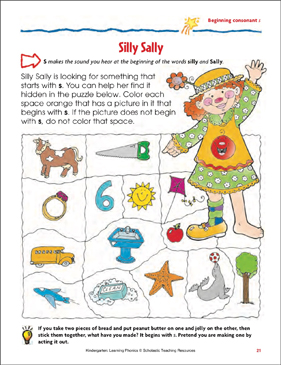 Silly Sally (Beginning consonant s) - Printable Worksheet