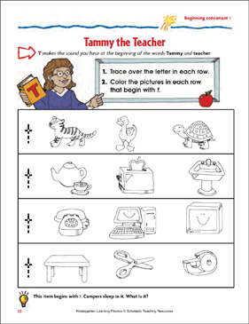 Tammy the Teacher (Beginning Consonant T) (Color) - Printable Worksheet