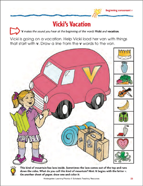 Vicki's Vacation (Beginning Consonant V) (Color) - Printable Worksheet