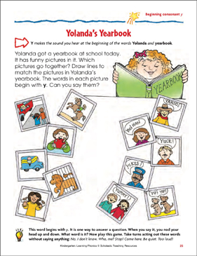 Yolanda's Yearbook (Beginning consonant y) - Printable Worksheet