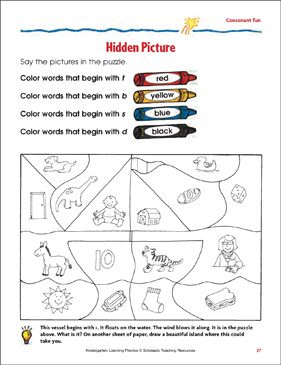 Hidden Picture Consonant Fun - Printable Worksheet