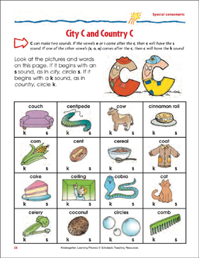 City C and Country C (Special consonants) - Printable Worksheet