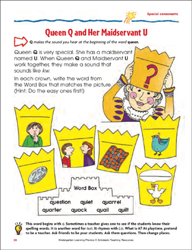 Queen Q and Her Maidservant U (Special consonants) - Printable Worksheet