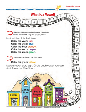 What Is a Vowel? (Recognizing Vowels) (Color) - Printable Worksheet