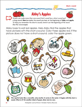 Abby's Apples (Short-a sound) (Color) - Printable Worksheet