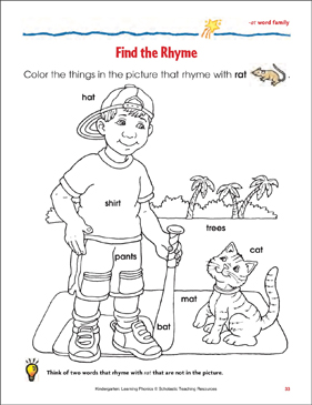Find the Rhyme (-at word family) - Printable Worksheet