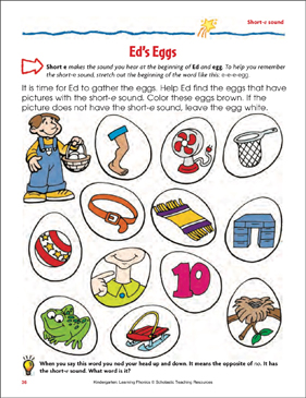 Ed's Eggs (Short-e sound) (Color) - Printable Worksheet