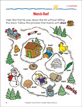 Watch Out! (-ed word family) - Printable Worksheet