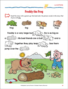 Freddy the Frog (-og word family) - Printable Worksheet