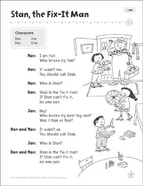 Stan, the Fix-It Man (-an): Word Family Play - Printable Worksheet