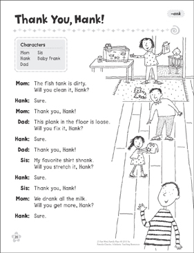 Thank You, Hank (-ank): Word Family Play - Printable Worksheet