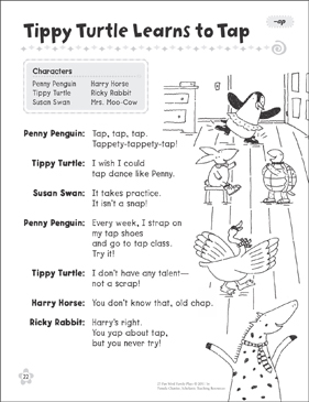Tippy Turtle Learns to Tap (-ap): Word Family Play - Printable Worksheet