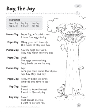 Ray, the Jay (-ay): Word Family Play - Printable Worksheet