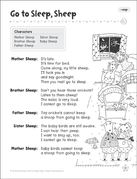 Go to Sleep, Sheep (-eep): Word Family Play - Printable Worksheet
