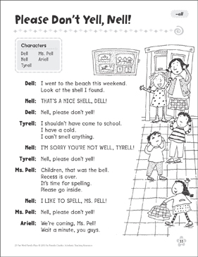 Please Don't Yell, Nell! (-ell): Word Family Play - Printable Worksheet