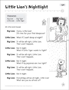 Little Lion's Nightlight (-ight): Word Family Play - Printable Worksheet