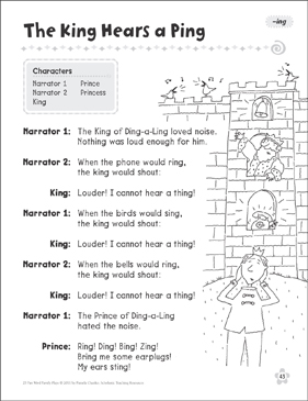 The King Hears a Ping (-ing): Word Family Play - Printable Worksheet