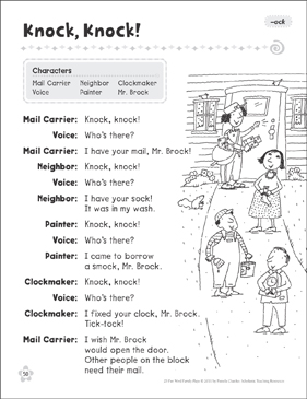 Knock, Knock! (-ock): Word Family Play - Printable Worksheet