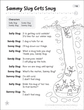 Sammy Slug Gets Snug (-ug): Word Family Play - Printable Worksheet
