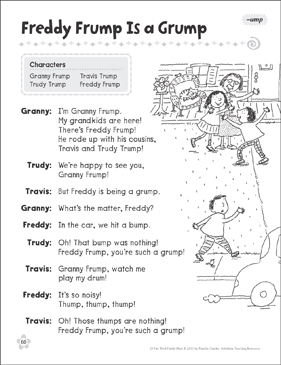 Freddy Frump Is a Grump (-ump): Word Family Play - Printable Worksheet