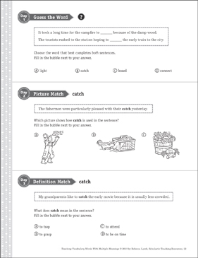 Catch: Multiple Meaning Word - Printable Worksheet