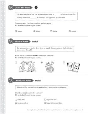 Match: Multiple Meaning Word - Printable Worksheet