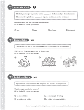 Pen: Multiple Meaning Word - Printable Worksheet