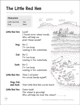 The Little Red Hen: A Beginning Reader Play - Printable Worksheet
