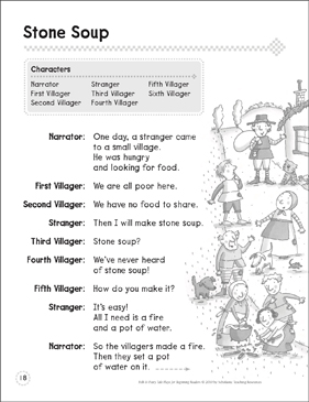 Stone Soup: A Beginning Reader Play - Printable Worksheet