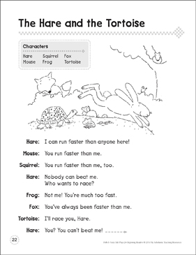 The Hare and the Tortoise: A Beginning Reader Play - Printable Worksheet