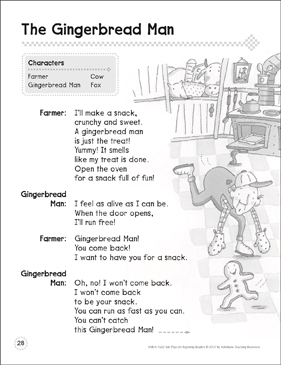 The Gingerbread Man: A Beginning Reader Play - Printable Worksheet