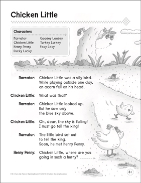 Chicken Little: A Beginning Reader Play - Printable Worksheet