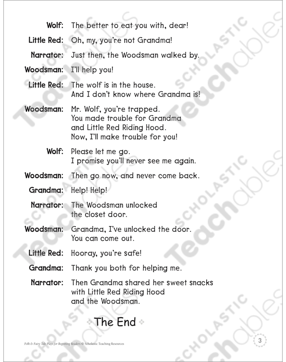 Little Red Riding Hood A Beginning Reader Play Printable Texts