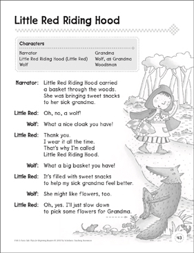 Little Red Riding Hood: A Beginning Reader Play - Printable Worksheet